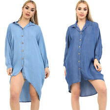Women Ladies Italian Denim Shirt Dress Hi Lo Hem Button Collared Oversize Shirt