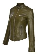 Womens Fitted Biker Leather Jacket Zip Up Standing Collar Slim Fit Olive Coat