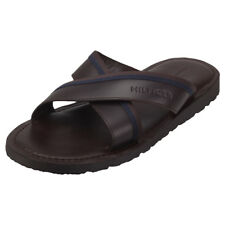 Tommy Hilfiger Casual Leather Cross Strap Mens Coffee Bean Sandals