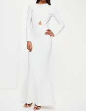 Missguided White Long Sleeve Backless Maxi Dress (M35/7)