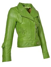 Womens Soft Real Leather Biker Jacket Zip Up Fitted Designer Coat Lime Green