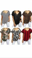 New women ladies turn up short sleeve plain printed loose baggy v neck t shirt