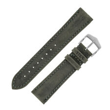 Hirsch HERITAGE Natural Calfskin,patina grain Leather Watch Strap in ANTHRACITE