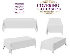 White Polyester Tablecloth Cover, Rectangle, Wedding Party Banquet, 1, 5, 10pcs