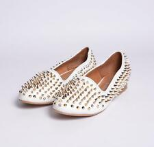 JEFFREY CAMPBELL ZAPATOS DE MUJER DIGI ESPIGA LEATHER BLANCO PLATA