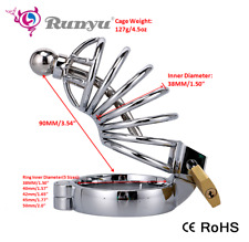 Stainless Steel Male Bondage Chastity Cage with Urethral Plug Sounds Chastity