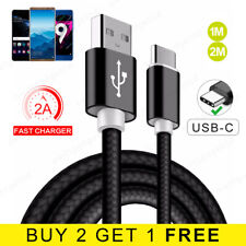 USB Type C Cable 1M 2M Braided USB-C FAST Charger Lead for Huawei P9 P10 P20