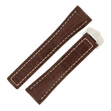 Hirsch NAVIGATOR BREITLING OEM Alligator Deployment Watch Strap & clasp in BROWN