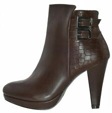 9ce11f3d931e99 R and Be Dh307 Plateau Ankle Boots Coffee High Heel 173696