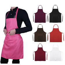 Chefs Aprons Plain w/ Front Pockets Kitchen Butcher Cooking Catering BBQ Stuff