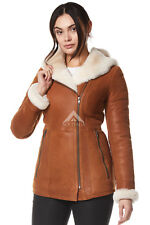 Ladies Real Leather Shearling Sheepskin Jacket Short Fitted Chestnut Biker Style