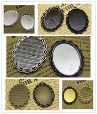 3/15pcs Antique Silver Tone Alloy Lace circular Cameo Setting Inner Size:30x40mm
