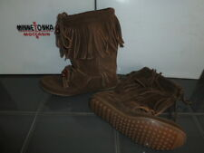 BOTTINES A FRANGES CUIR MINNETONKA WOODSTOCK  BOOT 1668 MARRON 1669 NOIR NEUF