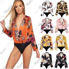 New Womens Floral Print Deep V Collared Neck Tuxedo Wrap Over Satin Bodysuit Top