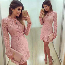 New Arrive Vestidos Women Fashion Casual Lace Dress 2018 O-Neck Sleeve Pink