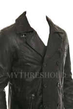 Mens Biker Vintage Motorcycle Black Cafe Racer Leather Jacket Coat