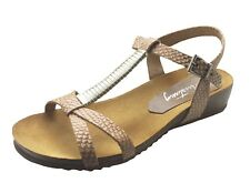 Mustang NEW 2865-801 beige snakeskin genuine leather strappy wedge sandals 3-8