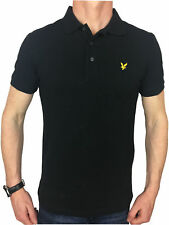 Lyle & Scott Mens Logo Branded True Black Cotton Polo Shirt in Size Medium