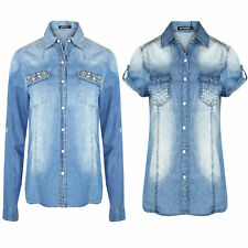 Ladies Denim Diamante Shirt Womens Long & Short Sleeve Sequin Pocket Shirts Top