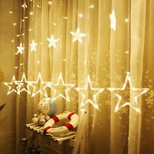 138 LED Christmas Twinkle Star Window Curtains Fairy String Light Party Décor