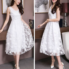 Girl Women's Elegant Sleeveless Lace Floral Tulle Party Wedding Cocktail Dress