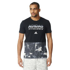 Men's adidas All-Over-Print Tee Black 100% Cotton Crewneck Shortsleeve T-Shirt