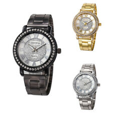 Women Crystal Diamond Stainless Steel Band Wrist Watch Dial Analog Quartz Watch