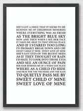 Sweet Child O Mine - Guns N Roses Song Lyrics Typography Print