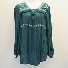Style & Co Womens Top Embroidered Peasant Tunic Crinkle Blouse Teal Blue $54