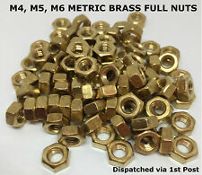 M4 M5 M6 THREAD SIZE HEXAGON BRASS STANDARD NUT METRIC FULL NUTS PITCH DIN 934