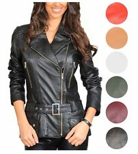 Ladies Biker Leather Jacket Italian Style Fitted Belted Coat In Range of Colours