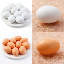 NEW 10Pcs Hen Eggs Poultry Wooden Fake Dummy Eggs Chicken Layer Coop Cages