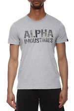Alpha Industries Camo Print T T-Shirt Uomo 156513 382 Grey Heateher Woodland