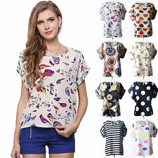 Women Chiffon Short Sleeve Top Blouse Casual T-shirt Summer Casual Tee Plus Size