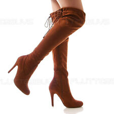 Stiletto Womens OVER THE KNEE Tie Top High Boots Stretch Faux Suede Ladies