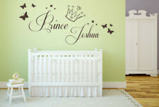 Personalised Name Prince, Crown. Vinyl Wall Art Sticker, Chilrdens Bedroom Decal