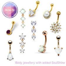Gold Belly Bar Rose Gold Navel Bar Opal Crystal Dangly 10mm 14g Surgical Steel