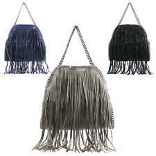 New Womens Tassel Fringed Fashion Medium Handbag Tote Hobo Shopper Shoulder Bag