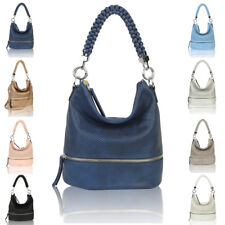Womens Fashion Leather Braided Handbag Tote Hobo Shopper Crossbody Shoulder Bag