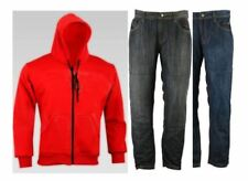 RKSports Motorcycle Motorbike Kevlar Lined Red Hoodie and Protective Jeans CE