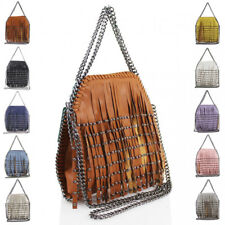 Womens Studded Tassels Fringed Chain Trim Handbag Tote Hobo Shopper Shoulder Bag