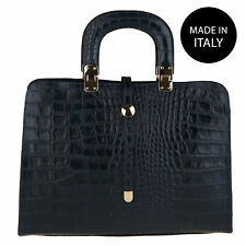 Borsa a mano da Donna in pelle Stampa Coccodrillo made in italy 2130