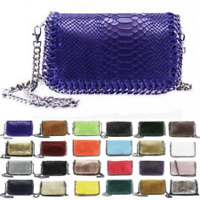 Womens Chain Snakeskin Leather Handbag Clutch Crossbody Messenger Shoulder Bag