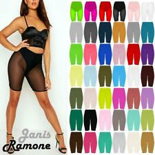 New Womens Plain Stretchy Basic Dance Over Knee Active Gym Sports Cycling Shorts