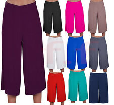 Plus Size Womens Casual Wide Leg Plain Culottes 3/4 Length Shorts Trousers Pants