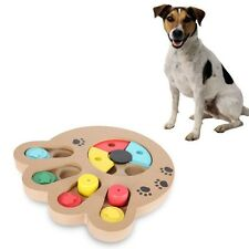 Pet Puzzle Plate Toys Dog Cat Play IQ Fun Toy Interactive Wooden Food Dispensing