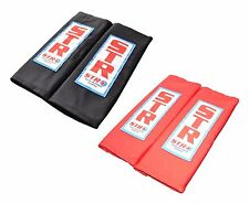 STR 75mm Harness Seat Belt Shoulder Pads Race Rally - Pair BLACK or RED