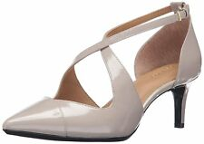 Calvin Klein Womens Pamette Leather Pointed Toe Ankle Strap D-orsay Pumps