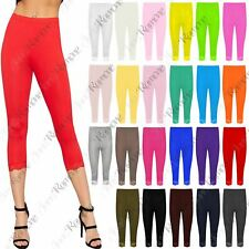 New Womens Lace Trim Plain 3/4 Leggings Gym Stretch Capri Cropped Jogging Pants