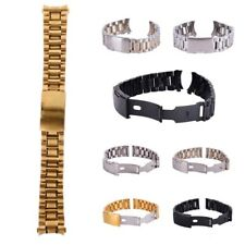 18-24mm Stainless Steel Solid Belts Chic Watch Band Strap Bracelet Curved End